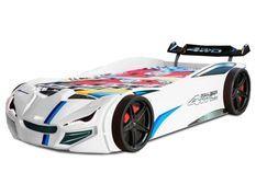 Lit voiture de course blanche avec phares Fusio 90x190 cm