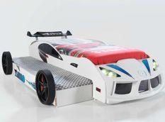 Lit voiture de course double couchage 90x190 cm Racing blanc
