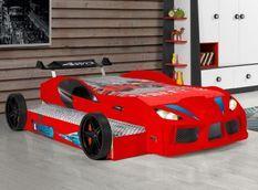 Lit voiture de course double couchage 90x190 cm Racing rouge