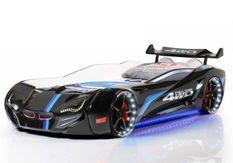 Lit voiture de course turbo V1 noir 90x190 cm