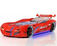Lit voiture de course turbo V1 rouge 90x190 cm