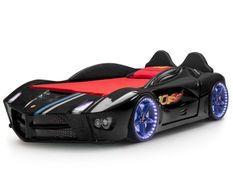 Lit voiture de course noir Flamme 90x190 cm