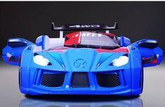 Lit voiture de course Road bleu à Led 90x190 cm