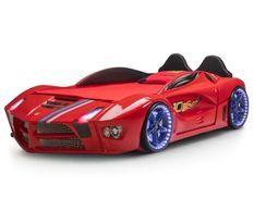 Lit voiture de course rouge Flamme 90x190 cm