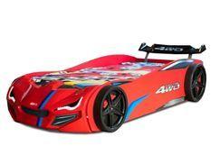 Lit voiture de course rouge avec phares Fusio 90x190 cm