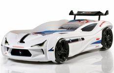 Lit voiture de course V5 blanc