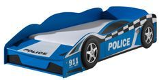 Lit voiture de police 70x140 cm bois bleu Todd