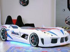 Lit voiture de sport blanc à Led avec coffre de rangement à Led Competition 90x190 cm