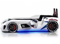 Lit voiture de sport blanc à Led avec effets sonores Competition 90x190 cm
