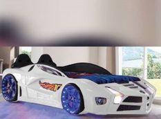 Lit voiture de sport blanc à led Flamme