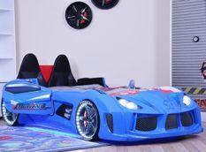 Lit voiture de sport bleu à Led avec coffre de rangement à Led Competition 90x190 cm