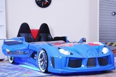 Lit voiture de sport bleu à Led avec effets sonores Competition 90x190 cm