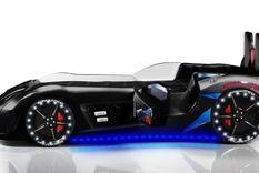 Lit voiture de sport noir à Led avec coffre de rangement à Led Competition 90x190 cm