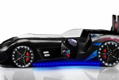 Lit voiture de sport noir à Led avec effets sonores Competition 90x190 cm