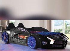 Lit voiture de sport noir à led Flamme