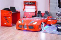 Lit voiture de sport rouge à Led à Led Competition 90x190 cm