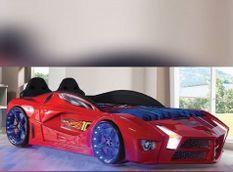 Lit voiture de sport rouge à led Flamme