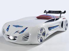 Lit voiture enfant futuriste blanche à Led avec effets sonores 90x190 cm