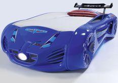 Lit voiture enfant futuriste bleu à Led avec effets sonores 90x190 cm