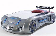 Lit voiture enfant futuriste grise à Led avec effets sonores 90x190 cm