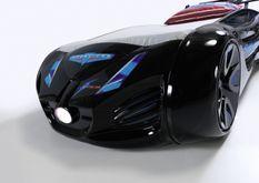 Lit voiture enfant futuriste noir à Led avec effets sonores 90x190 cm