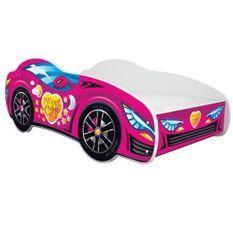 Lit voiture mélaminé rose 70x140 cm