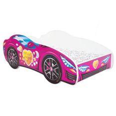 Lit voiture mélaminé rose 80x160 cm