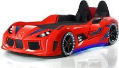 Lit voiture de sport rouge à Led avec effets sonores Competition 90x190 cm