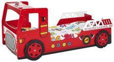 Lit voiture pompier 90x200 cm bois laqué rouge Cara