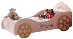 Lit voiture princesse 90x200 cm bois rose Cara