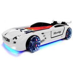 Lit voiture Roadster blanc à Led