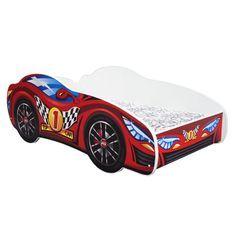 Lit voiture top car mélaminé rouge 70x140 cm
