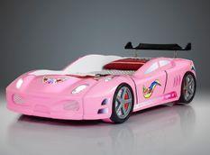 Lit voiture turbo V7 rose à Led