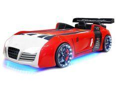 Lit voiture turbo rouge et blanc à Led 90x190 cm