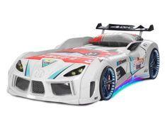 Lit voiture turbo V8 blanc à Led 90x190 cm