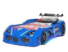 Lit voiture turbo V8 bleu à Led 90x190 cm