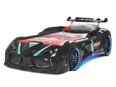 Lit voiture turbo V8 noir à Led 90x190 cm