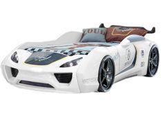 Lit voiture de sport blanc à Led avec effets sonores Racing 90x190 cm