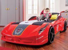 Lit voiture de sport rouge à Led avec effets sonores Racing 90x190 cm