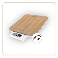 LITTLE BALANCE 8231 Slide 10 USB Bambou, Balance de cuisine sans pile, Rechargeable USB, 10 kg / 1 g, Ecran rétractable, Bambou