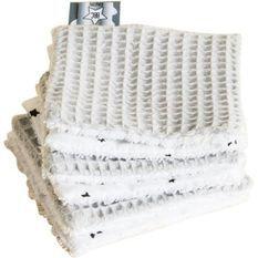 Lot 6 lingettes lavables 10x10cm Gris clair