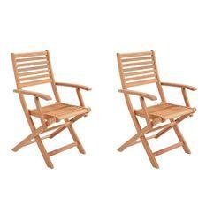 Lot de 2 fauteuils pliantes de jardin en eucalyptus FSC - 57,5x56x90cm