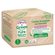 LOVE AND GREEN Couches hypoallergéniques Non blanchies Pure Nature - Certifiées Ecolabel T1 x 32 (2 a 5 kilos)
