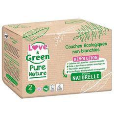 LOVE AND GREEN Couches hypoallergéniques Non blanchies Pure Nature - Certifiées Ecolabel T2 x 35 (3 a 6 kilos)