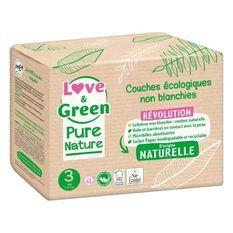 LOVE AND GREEN Couches hypoallergéniques Non blanchies Pure Nature - Certifiées Ecolabel T3 x 42 (4 a 9 kilos)