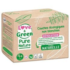 LOVE AND GREEN Couches hypoallergéniques Non blanchies Pure Nature - Certifiées Ecolabel T4+ x 35 (9 a 20 kilos)