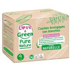 LOVE AND GREEN Couches hypoallergéniques Non blanchies Pure Nature - Certifiées Ecolabel T4 x 38 (7 a 14 kilos)