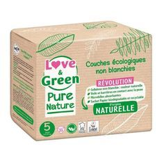 LOVE AND GREEN Couches hypoallergéniques Non blanchies Pure Nature - Certifiées Ecolabel T5 x 33 (11 a 25 kilos)