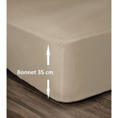 LOVELY HOME Drap Housse 100% Coton 140x190cm - Bonnet 35cm - Beige