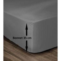 LOVELY HOME Drap Housse 100% Coton 140x190cm - Bonnet 35cm - Gris foncé